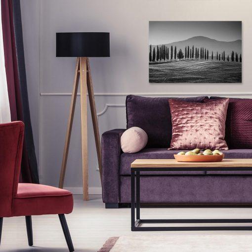 Czarno-biały obraz z górskim krajobrazem do dekoracji salonu