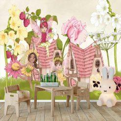 Foto-tapeta domki wśród kwiatów