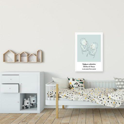 Niebieski plakat line art do pokoju bliźniąt