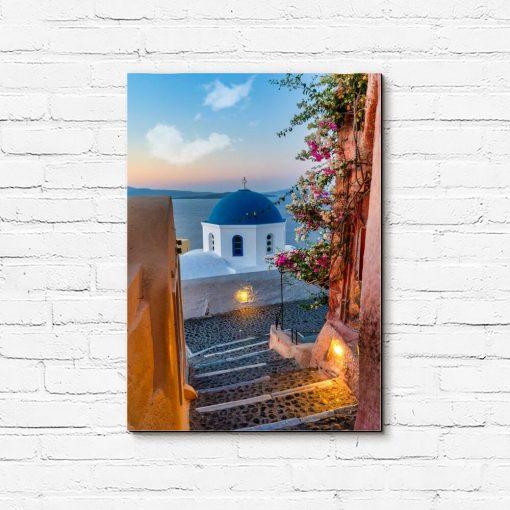 Kolorowy obraz z greckim krajobrazem do dekoracji sypialni
