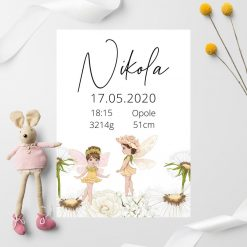 Pastelowy plakat z metryczką dla Nikoli