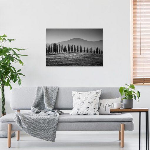 Czarno-biały obraz z górskim krajobrazem do przedpokoju