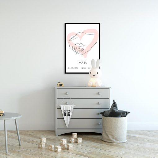 Dziewczęcy plakat imienny line art