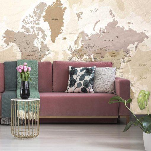 Fototapeta z motywem mapy geograficznej świata