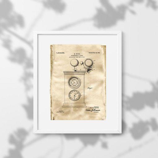 Plakat z rysunkiem patentowym zegara astronomicznego do gabinetu