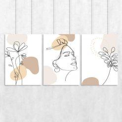 Tryptyk w stylu line art do salonu