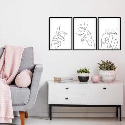 Plakaty tryptyk usta i dłonie - szkic