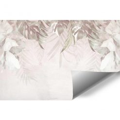 Tapeta z motywem liści w kolorze beżowym