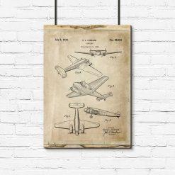 Plakat rzut na samolot dwusilnikowy