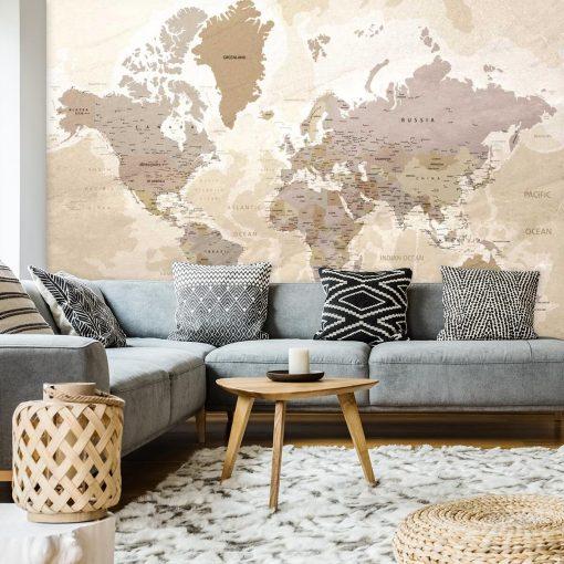Beżowa tapeta z mapą świata