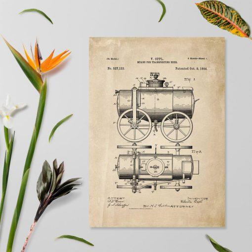 Plakat schemat budowy transportera z 1894r.