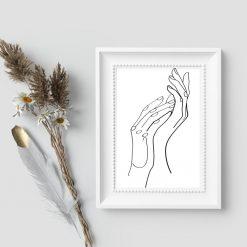 Plakat szkice line art - dłonie