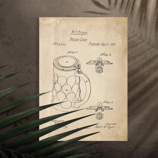 Plakat z patentem na pitcher cover