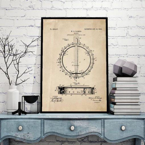 Poster dla miłośnika muzyki - Patent na banjo na prezent