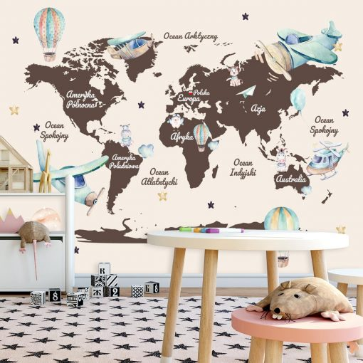Foto-tapeta dla dzieci z mapą świata