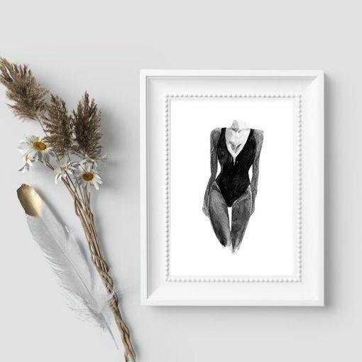 Plakat z modelką w kostiumem kąpielowym