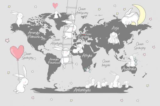 Tapeta do przedszkola z mapą świata