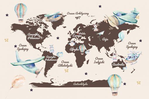 Fototapeta dla dzieci z mapą świata i helikopterem