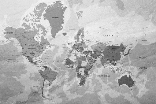 Foto-tapet w szarym kolorze z mapą