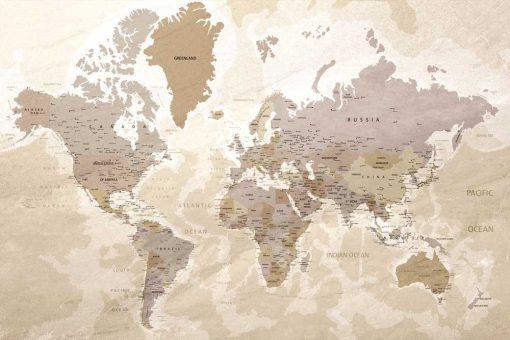 Foto-tapeta do salonu z mapą świata