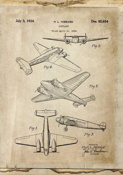 Plakat retro samolot dwusilnikowy
