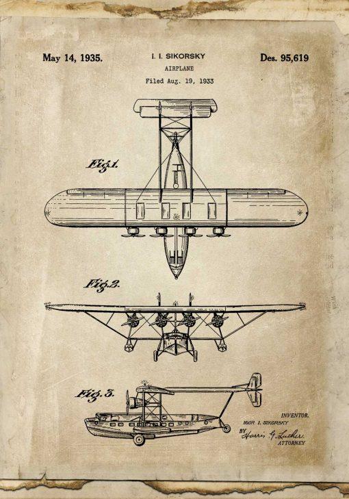 Plakat ze starym samolotem - rycina