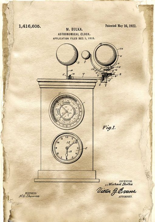 Plakat - Rysunek patentowy zegara astronomicznego