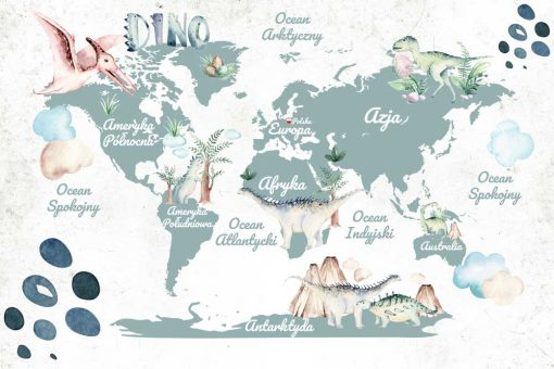 Foto-tapeta z mapą świata i dinozaurami