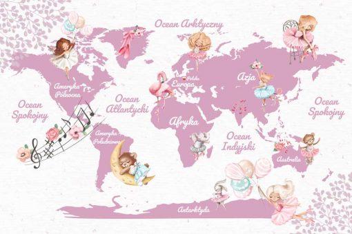 Kontynenty na różowej mapie - tapeta