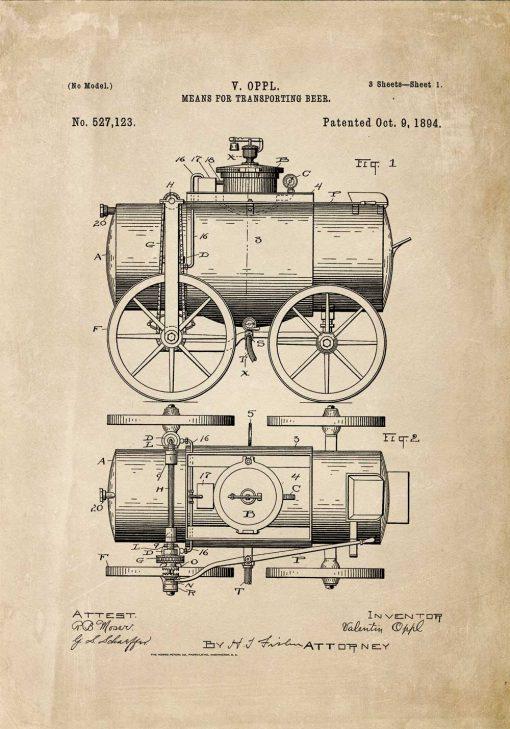 Plakat z ryciną wynalazku do przewozu piwa