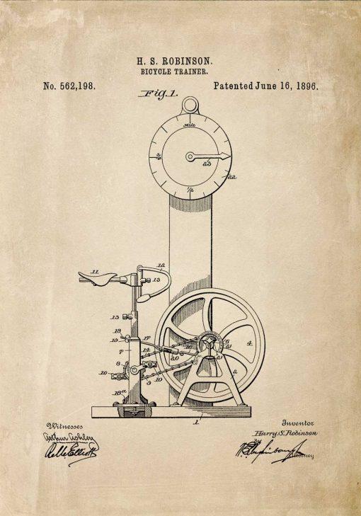 Plakat z projektem bicycle trainer - 1896r.