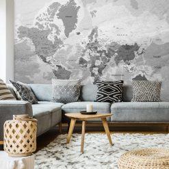 Szara foto-tapeta z mapą świata