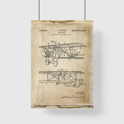 Plakat retro z samolotem dwupłatowym