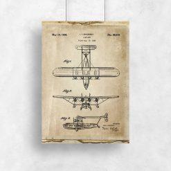 Plakat retro z rysunkiem konstrukcji samolotu