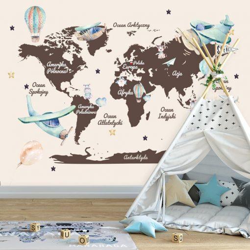 Tapeta dla dzieci z mapą i samolotami