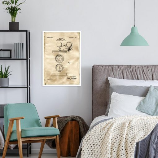Plakat z rysunkiem patentowym zegara astronomicznego do sypialni