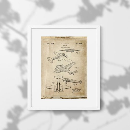 Plakat samolot dwusilnikowy - schemat