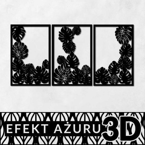 Ciekawy zestaw trzech plakatów z botanicznym wzorem 3d