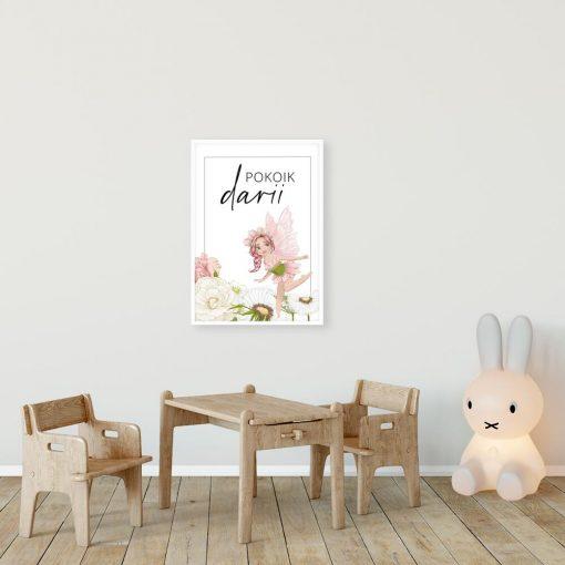 Imienny plakat nad łóżko dziecięce z motywem wróżki