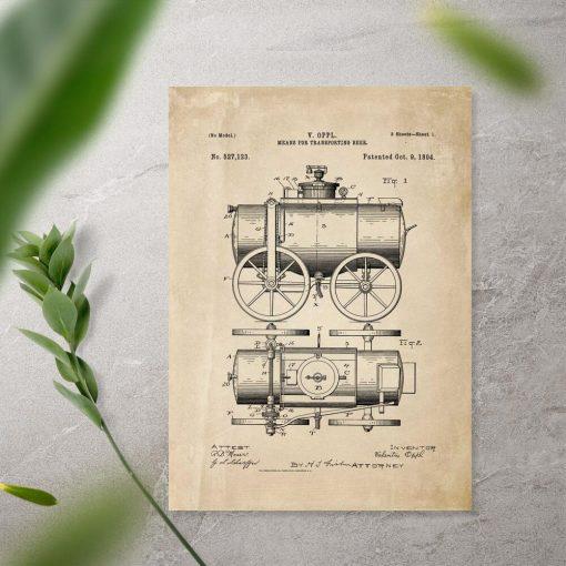 Plakat vintage z projektem transportera
