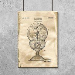 Poster z motywem zegara astronomicznego do pokoju