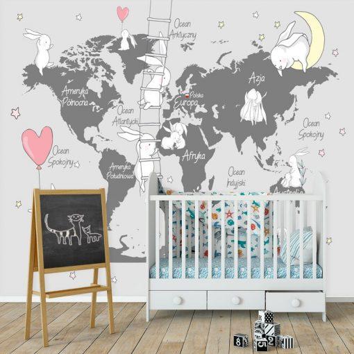 Fototapeta do pokoju zabaw z mapą świata