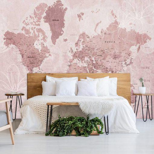 Różowa tapeta z mapą świata