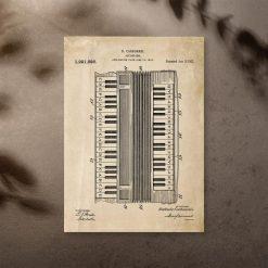 Plakat retro opis akordeonu w kolorze sepii