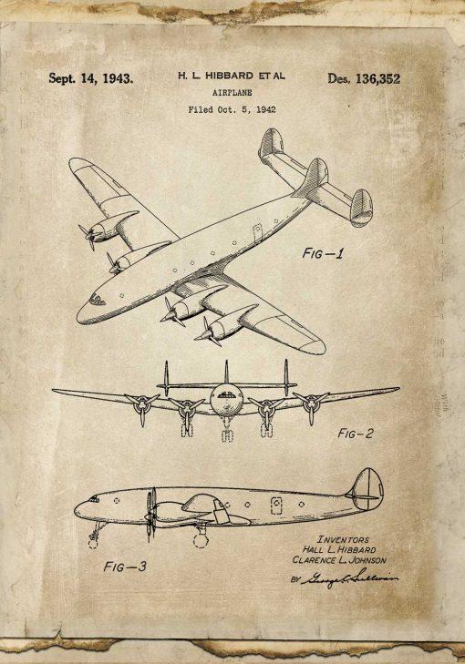 Patent na samolot w sepii - afisz