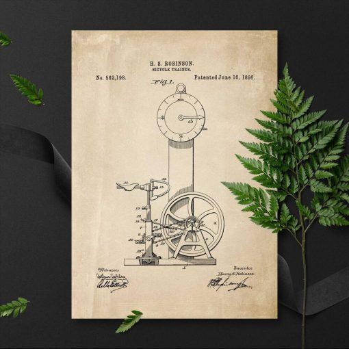 Plakat w sepii z patentem na budowę bicycle trainer