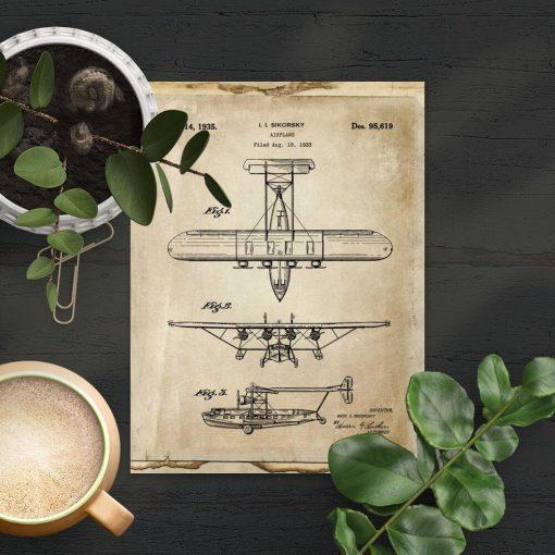 Plakat z rysunkiem technicznym projektu samolotu