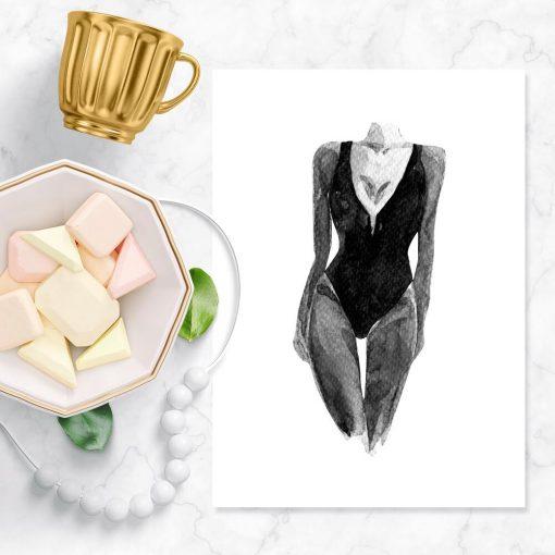 Plakat z motywem kobiecej sylwetki na białym tle