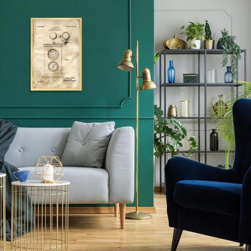Plakat z rysunkiem patentowym zegara astronomicznego do salonu