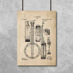 Plakat z reprodukcją patentu Banjo do salonu